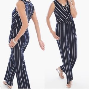 Chico's Collection Striped Sleeveless Jumpsuit